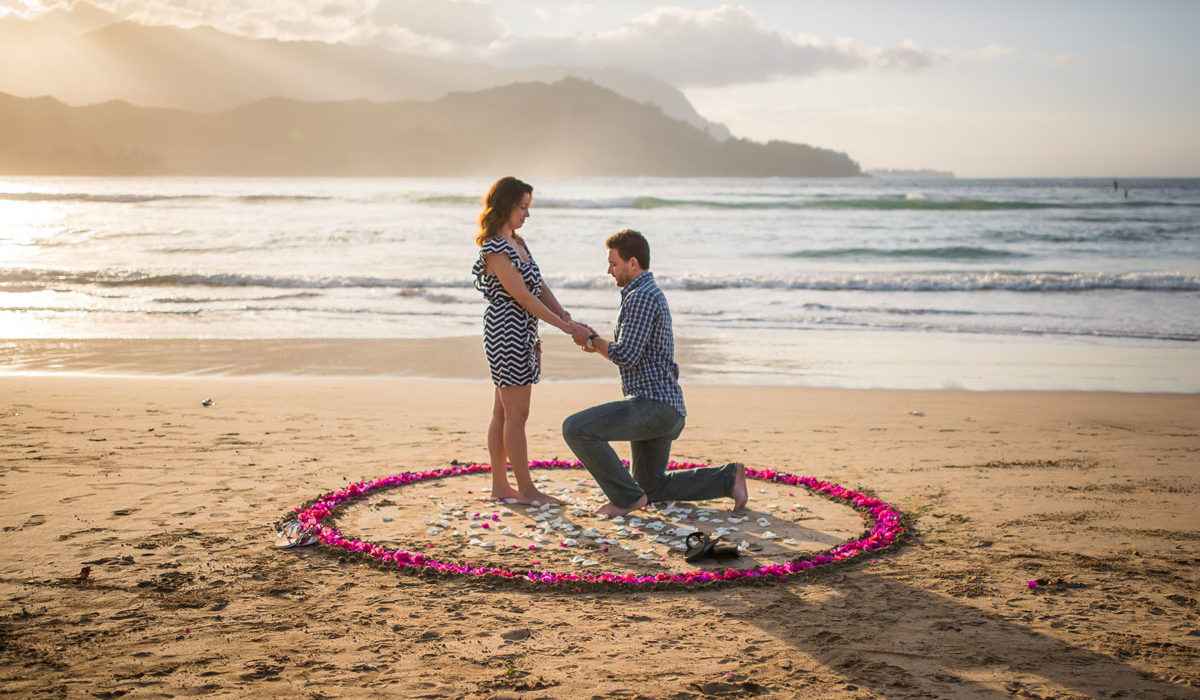 Surprise beach proposal on Kauai