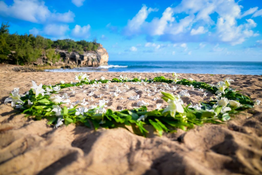 Kauai beach flower circle.