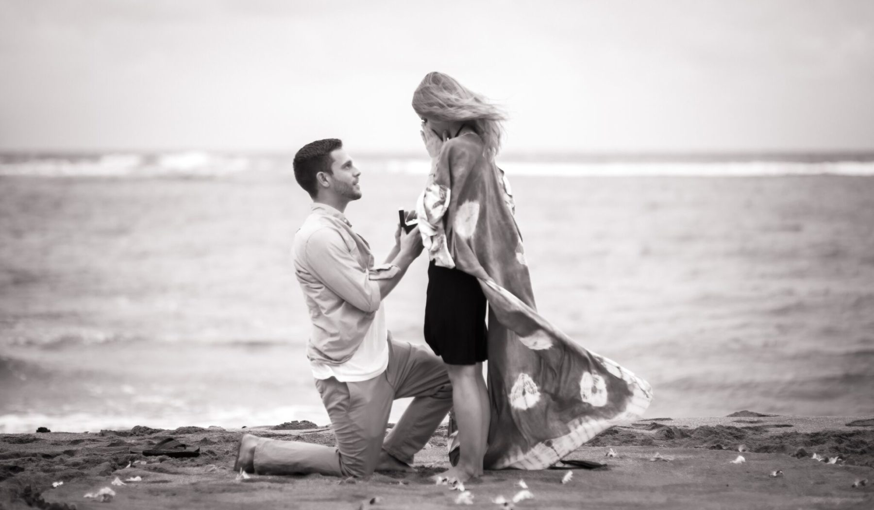 Black and white proposal photograph.