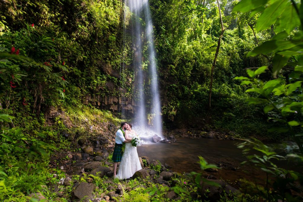 Waterfall wedding on Kauai.