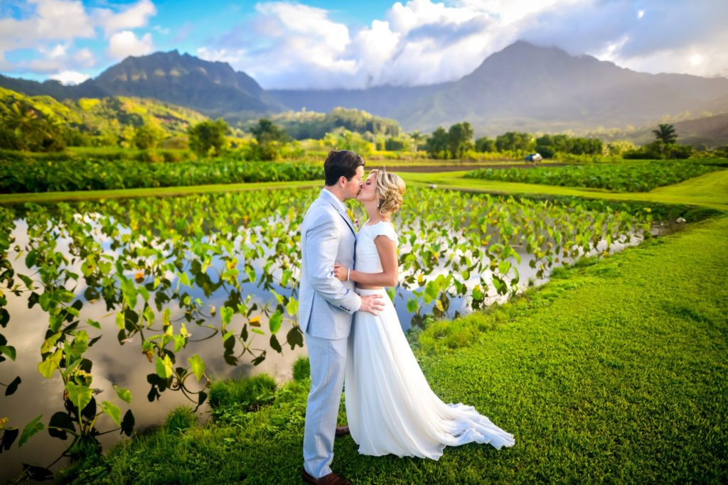 Taro field wedding kiss on Kauai.