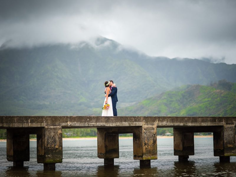 Getting married on the bridge in Hanalei, Kauai.