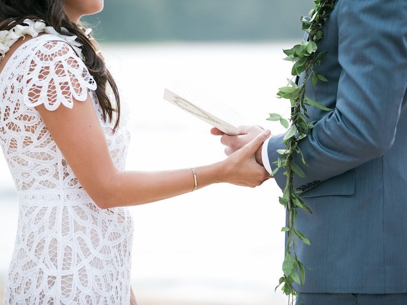 Marriage vows during Kauai elopement.