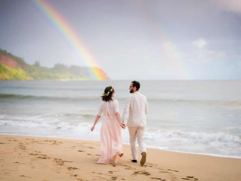 Double Rainbow wedding on Kauai.